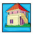 Ecological country house retro vector