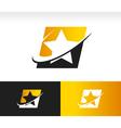 Swoosh star logo icon vector