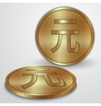 Gold coins with chinese yan currency sign vector