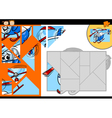 Cartoon helicopter jigsaw puzzle game vector