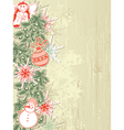 Vintage christmas background with christmas tree vector