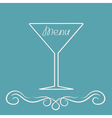 Menu cover design with martini glass calligraphic vector
