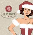 Beautiful woman dressed as santa claus vector