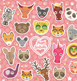 Seamless pattern funny animals white heart on pink vector