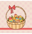 Easter basket with eggs and flowers vector
