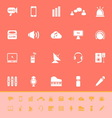 Sound color icons on orange background vector
