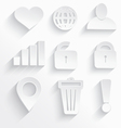 White internet icons heart vector