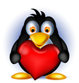Penguin cartoon holding heart love vector