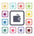 Wallet flat icons set vector