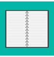 Open notepad with spiral and blank lined paper vector