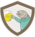 Trout fish holding beer mug shield cartoon vector