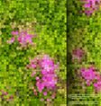 Blurred garden flowers square mosaic template vector