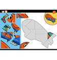 Cartoon blimp jigsaw puzzle game vector