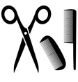 Barber tools icon with scissors and comb vector