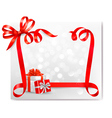 Holiday background with red gift bow with gift vector