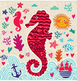 Artistic sealife background vector