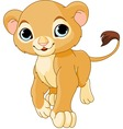 Walking lion cub vector