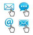 Contact - envelope email with cursor hand vector