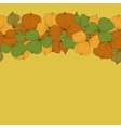 Seamless doodle border frame of autumn leaves vector