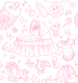 Seamless background is a girl with toys doodles vector