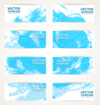 Set of abstract blue drawn by brush banners vector
