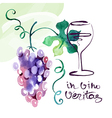 Painted watercolor card with grape leaves vector