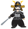 Little samurai cartoon vector