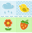 Summer icons of flower strawberry cloud and bird vector
