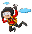A young boy skydiving vector