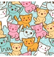 Seamless kawaii cartoon pattern with cute cats vector