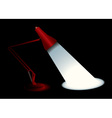 Red desk lamp vector