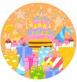 Big birthday cake and decorations vector