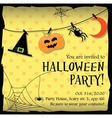 Halloween party invitation card with moon spider vector