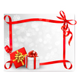 Holiday background with red gift bow and gift box vector