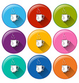 Circle buttons with cups of tea vector