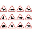 Farm animals warning signs vector