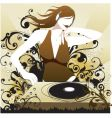 Dj babe in the mix vector