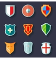 Shield icon flat vector