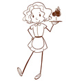A sketch of a lady server vector