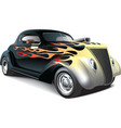 Hot rod with flame ornaments vector