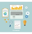 Business seo and education items icons vector