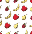 Seamless pattern of fruits and berries on white vector