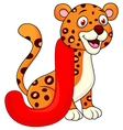 Alphabet j with jaguar cartoon vector