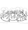 Farm animals cartoon coloring page vector