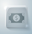 Dollar bill glass square icon with highlights vector