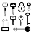 Locks and keys icons set in flat style vector