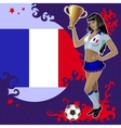 Football poster with girl and french flag vector