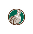 Female bartender carrying keg circle retro vector