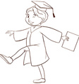 A drawing of a person graduating vector