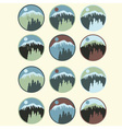 Set of vintage labels with mountainpines and wolf vector